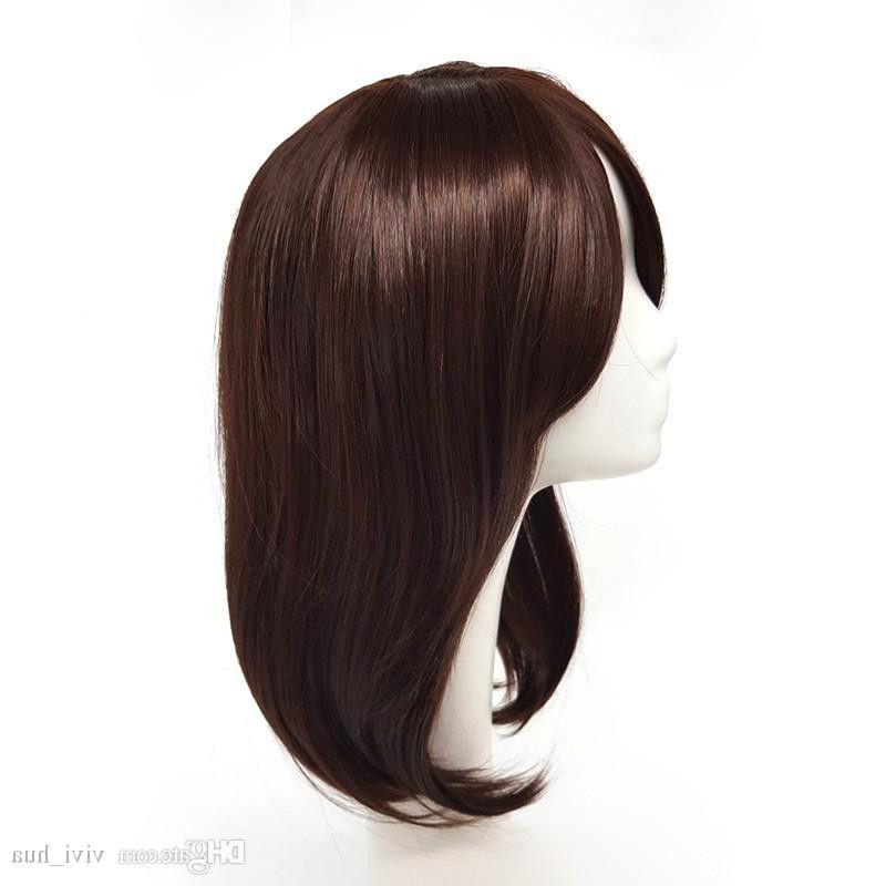 Perucas longas de Brown da onda natural com golpes para o cabelo sintético das mulheres brancas e pretas cabelo sintético de 18 polegadas