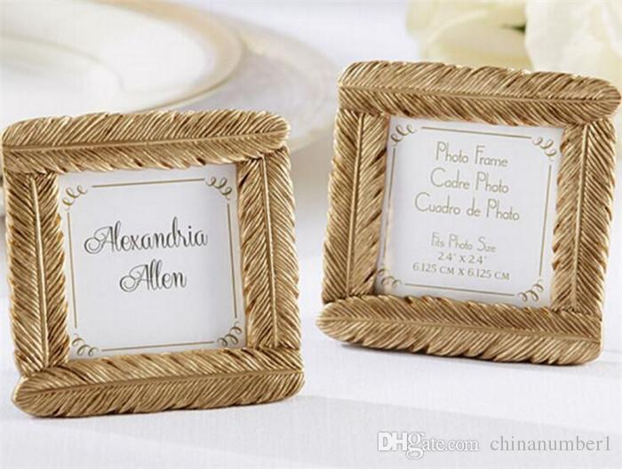 Wedding Favor And Wedding Gift Resin Gold Feather Frame Baby Shower