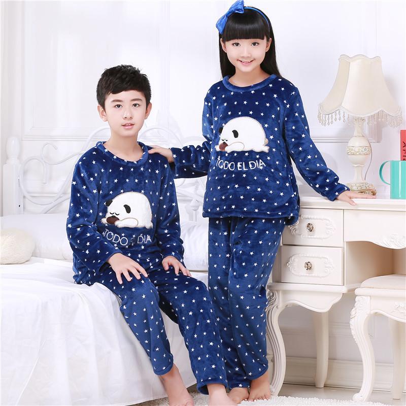 4dd85a98c33f Winter Children Fleece Pajamas Thicken Warm Flannel Sleepwear Girls ...