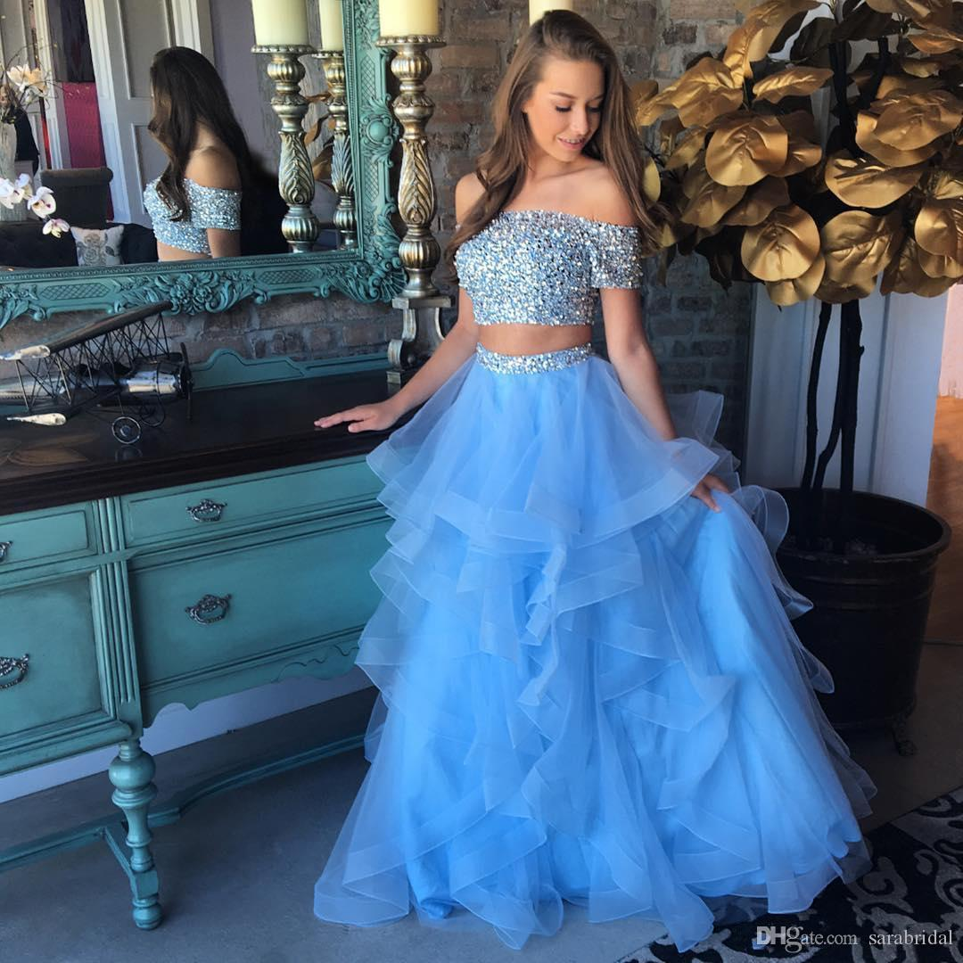 Light Blue 2 Piece Prom Dresses 2018 Off Shoulder Beaded Sequined Short Sleeve A Line Tiered Skirt Africa Party Evening Gown Homecoming Wear