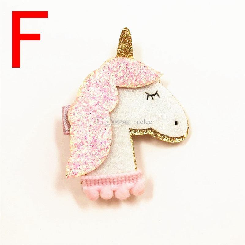 Yeni moda 6 stilleri ücretsiz ins seçin Shining Boyutlu Unicorn Yıldız Kızlar Saç Klipler Çocuk Tokalar kız hayvan klipleri ücretsiz gemi
