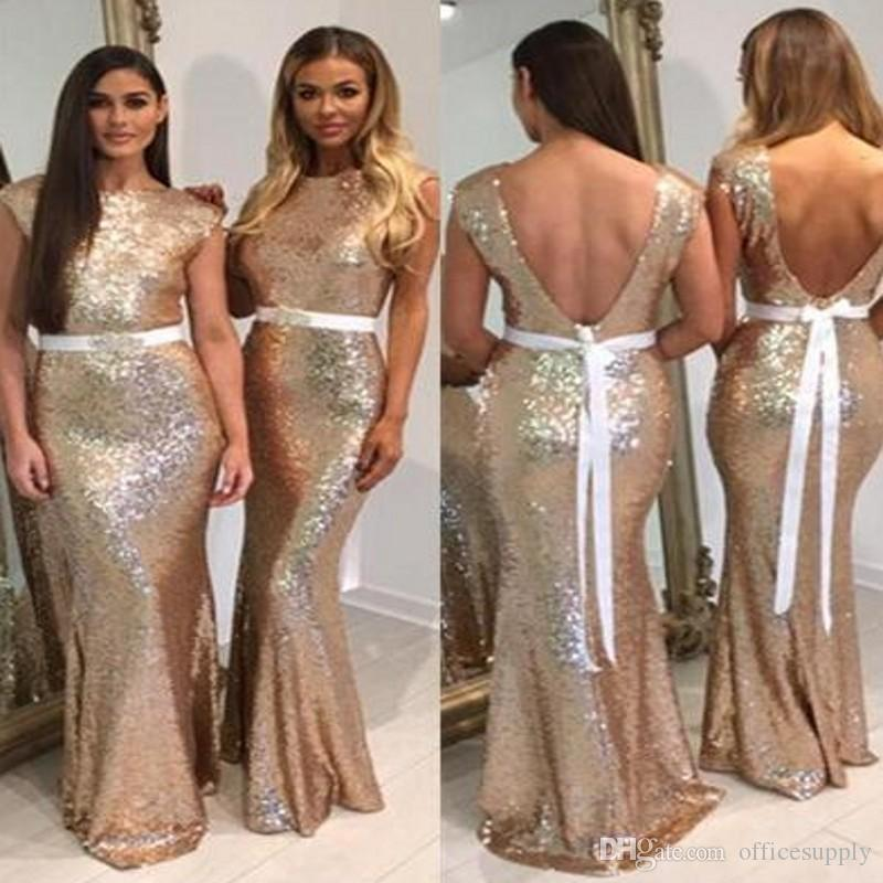 New Glitter Rose Gold Sequins Bridesmaid Dresses with Belt Cap Sleeves Mermaid Formal Prom Dress Long Bridesmaids Gowns Custom Made