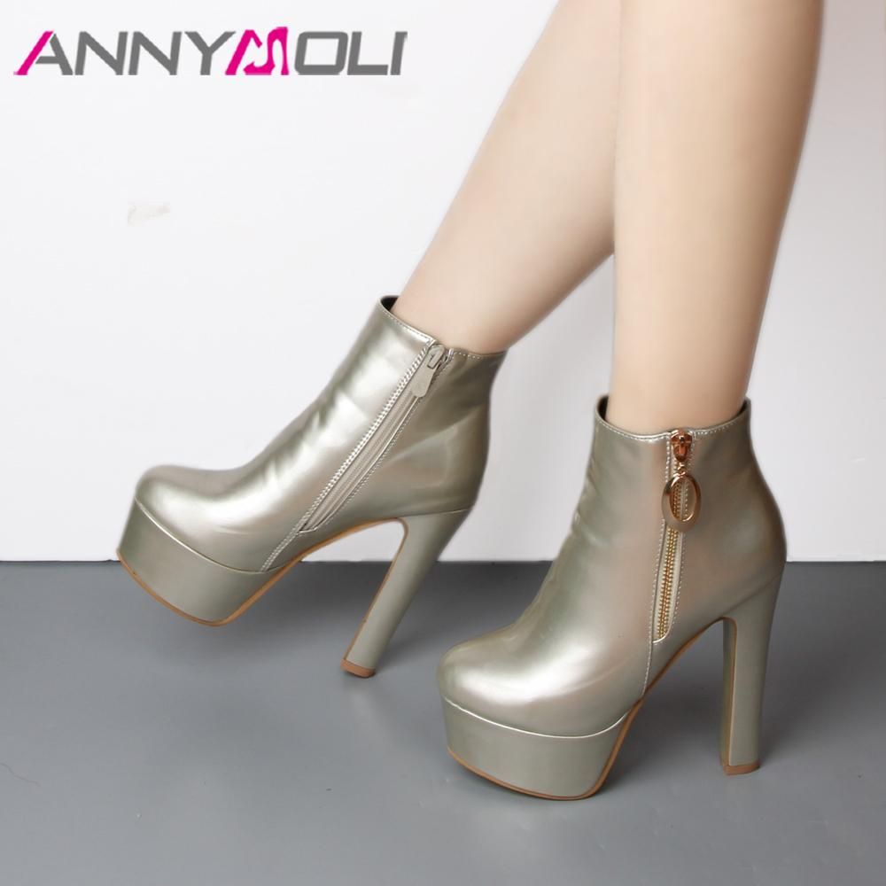 8def479692a ANNYMOLI Ankle Boots Women Winter 2018 New Platform Extreme High Heel Boots  Fenty Beauty Zipper Autumn Sexy Female Shoes Green Boots Cute Shoes From ...