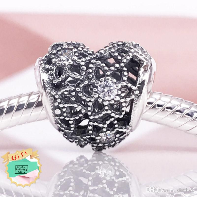 f83219e79 2019 Blooming Heart Charm With Clear CZ Sterling Silver Charm Fit European  Brand Snake Nracelet Necklace 796264CZ Charm From Dhalice, $9.68 |  DHgate.Com