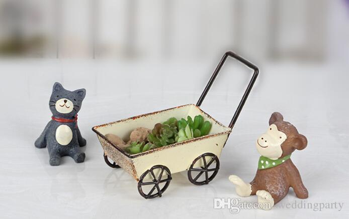 Vintage Wrought Iron Trolleys Mini Handmade Carts Miniature Fairy Garden Craft Home Decoration Storage Toys