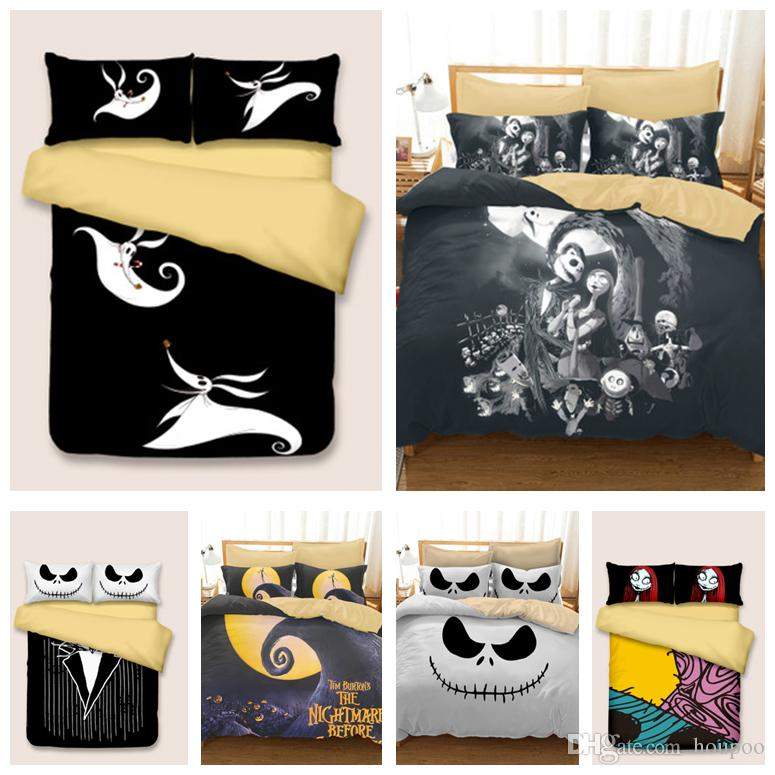 Wholesale 6 Styles Halloween Skull 3D Printed Twin~King Size Bedding Sets Bed Sheets Queen Bedding Sets King Size Comforter Set