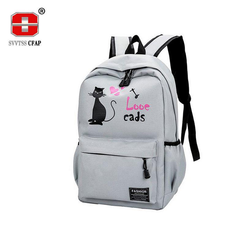 579e0183ce6b Cute Cat Back Pack Women Backpack Schoolbag For Girls Teenage Female Nylon  Rucksack High School Student Teen Back Bag 2018 New Mochilas Jansport  School ...