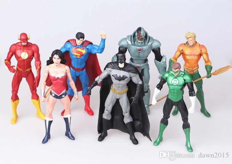 7pcs/set Justice league superman Wonder flash batman Lantern Aquaman movable PVC Action Figure Collectible Model Toy 17cm KT2605