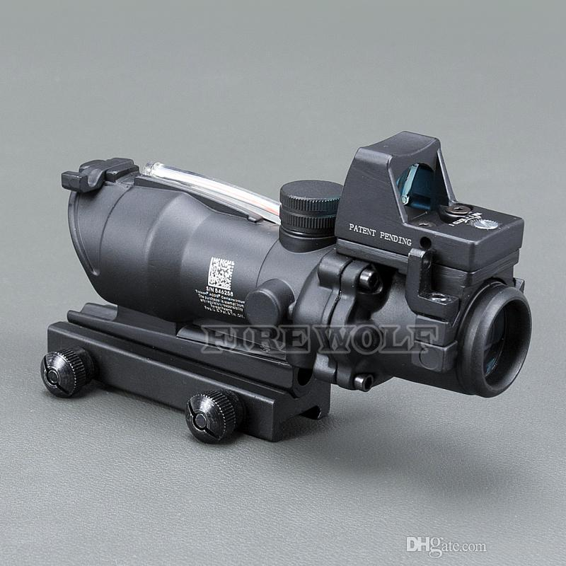 Trijicon ACOG 4X32 Black Tactical Real Fiber Optic Red Illuminated Collimator Red Dot Sight Hunting Riflescope