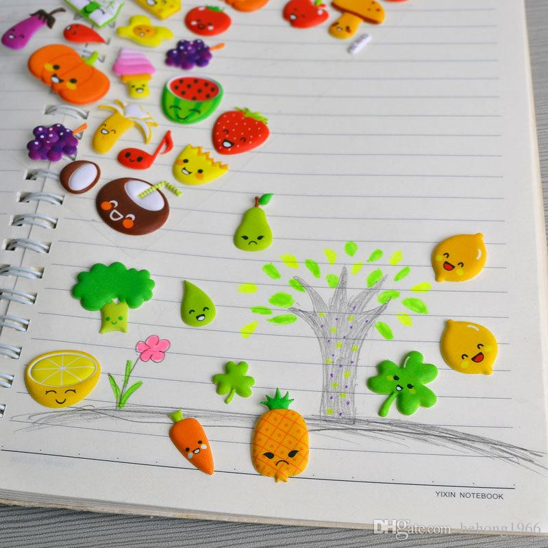 Korean Styling Kawaii 3D Cartoon Fruits DIY Diary Bubble Stickers Decoration For Notebook Albums Card Paper 1 85sr Z