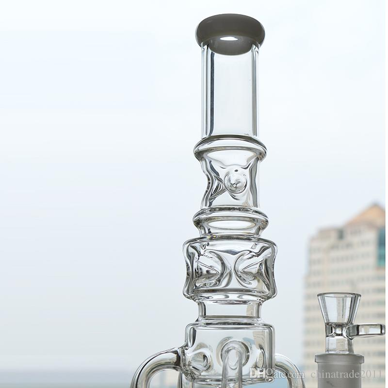 Big Glass Water Bongs Recycler Dab Oil Rigs 18 inches Rocket to Honeycomb Perc Bubbler Pipes Functional Ice Catcher Hookah Pipe Beaker Bong