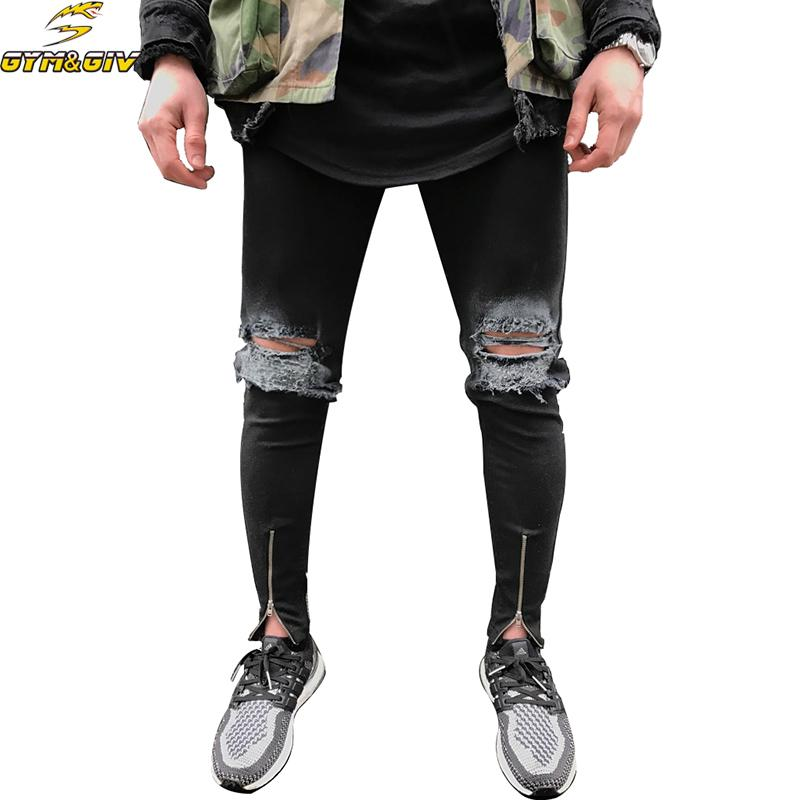 0de01ef3847a 2019 Ankle Zipper Design Hi Street Mens Black Ripped Jeans Men Fashion Male  Distressed Skinny Jeans Destroyed Denim Trousers From Hoto, $43.03 |  DHgate.Com