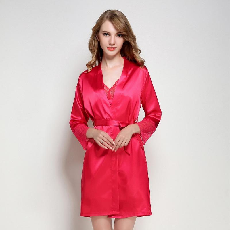 435dabe9cd 2019 New Red Women Silky Sexy Lingerie Robe Lace Soft Lady Sleepwear Long  Solid Satin Nightgown V Neck Robe Dressing Gown M L XL From Volontiers