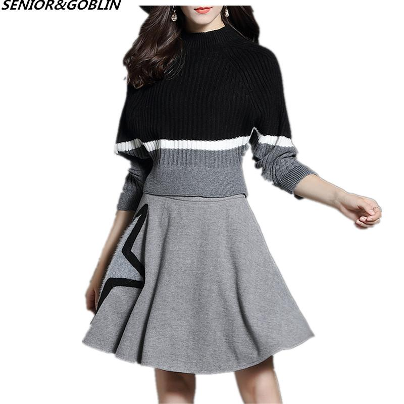 0d0c8eba8e5ac 2019 HIGH QUALITY New 2018 Autumn Fashion Designer Runway Suit Set Women S  Knitted Sweater Skirt Set Plus Size Sweater From Balsamor
