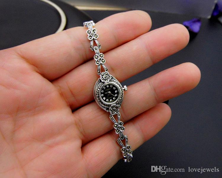 luxury watch designer 925 sterling silver wristwatches flowers marcasite thai silver women watches quartz brand simple vintage china