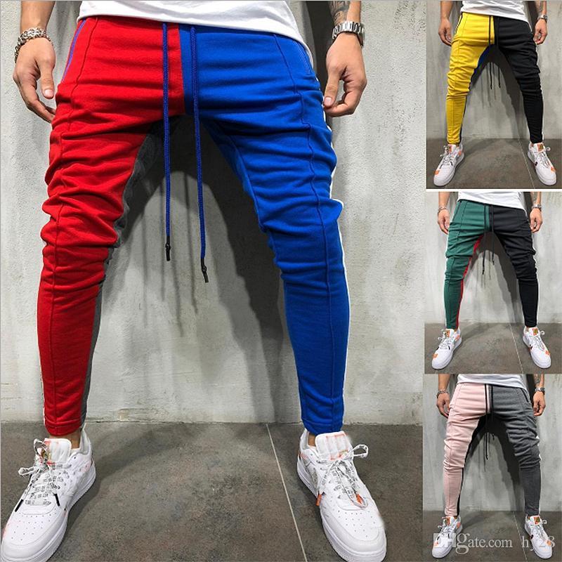 a82f989eb59d9 Compre Pantalones De Chándal Slim Fit Con Cordón Pantalones De Chándal A  Rayas Bloque De Color Patchwork Pantalón De Chándal Pantalones Deportivos  De Hip ...