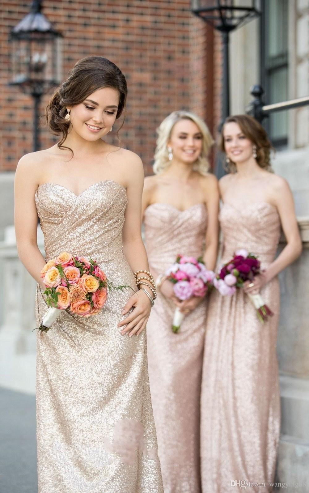 Sweetheart Strapless Sequin Bridesmaid Dress Rose Gold A Line Sheath Dress For Women Cheap Long Floor-Length Dress