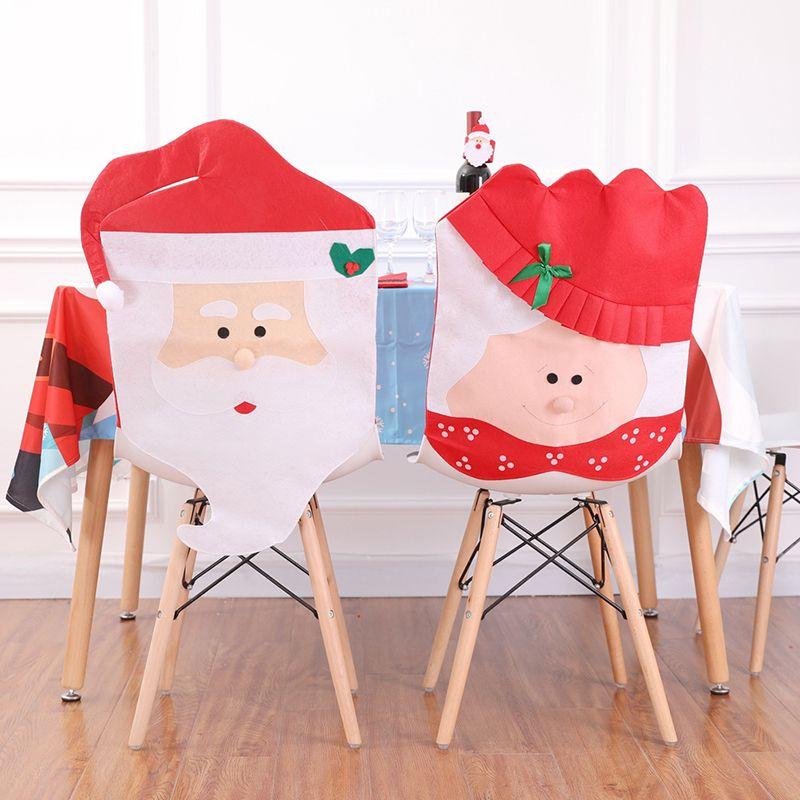 Santa Claus Cap Non Woven Chair Back Cover For Home Christmas