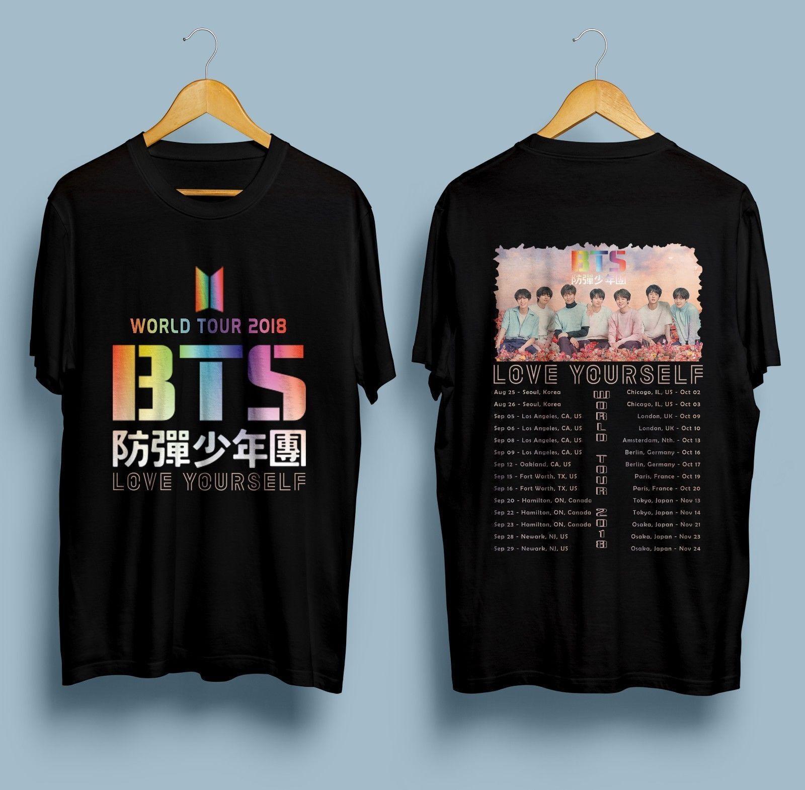 New BTS World Tour 2018 T-shirt KPOP Bangtan Boys Tee T-Shirt Size S To 2XL  Spring Summer Short Sleeve Casual Wholesale tee shirt