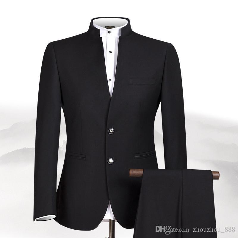 huge discount e3e66 b9dda Vestito da colletto maschile (giacca pantaloni) da uomo in stile cinese  personalizzato con colletto alla coreana vestito da festa da ballo per  uomini