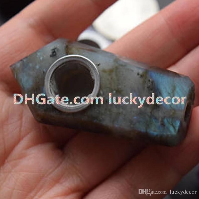Sale Pocket Mini Labradorite Crystal Stone Earth Gem Hippie Tobacco Smoke Pipe Manual Sculpture Natural Labradorite Quartz Palm Wand Pipes