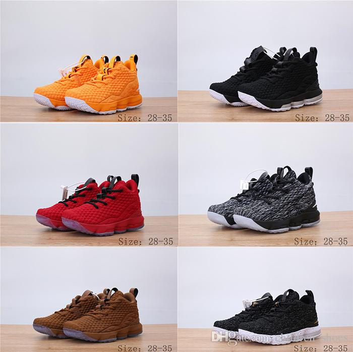 729ce29a05fe 2018 New Kids Gilr Basketball Shoes Ashes Ghost LeBron 15 Red Black ...