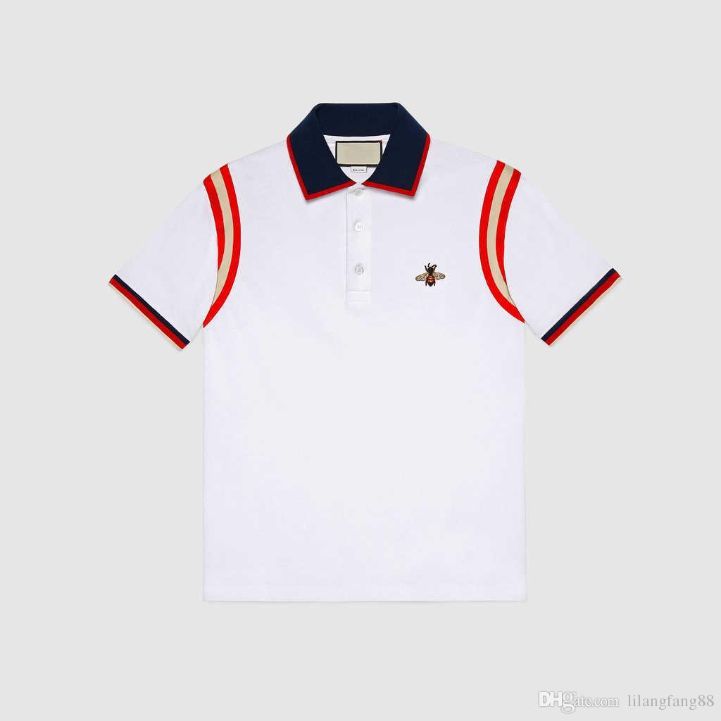 43a867ebf8 Compre Marca 2018 Camisa Dos Homens T Moda Stripe Splicing Designer De  Lapela De Abelha De Algodão De Manga Curta Camisa POLO T Homme De Fitness  Tamanho ...