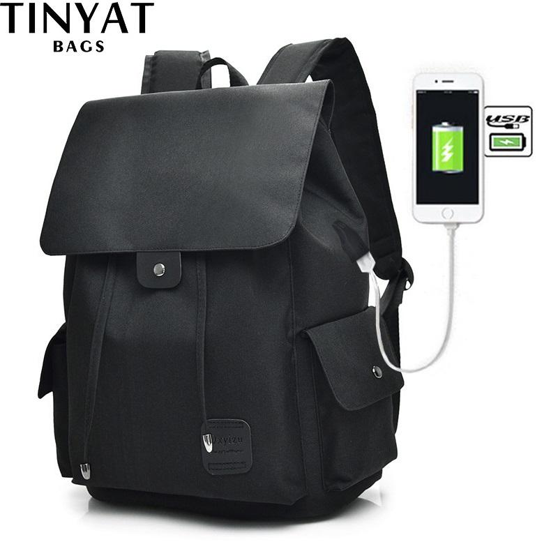 28186cdfdaea TINYAT Men Male Canvas Backpack Black Casual Rucksack 15inch Laptop  BackpacTravel College Student School Backpack T3 Gregory Backpacks Army  Backpack From ...