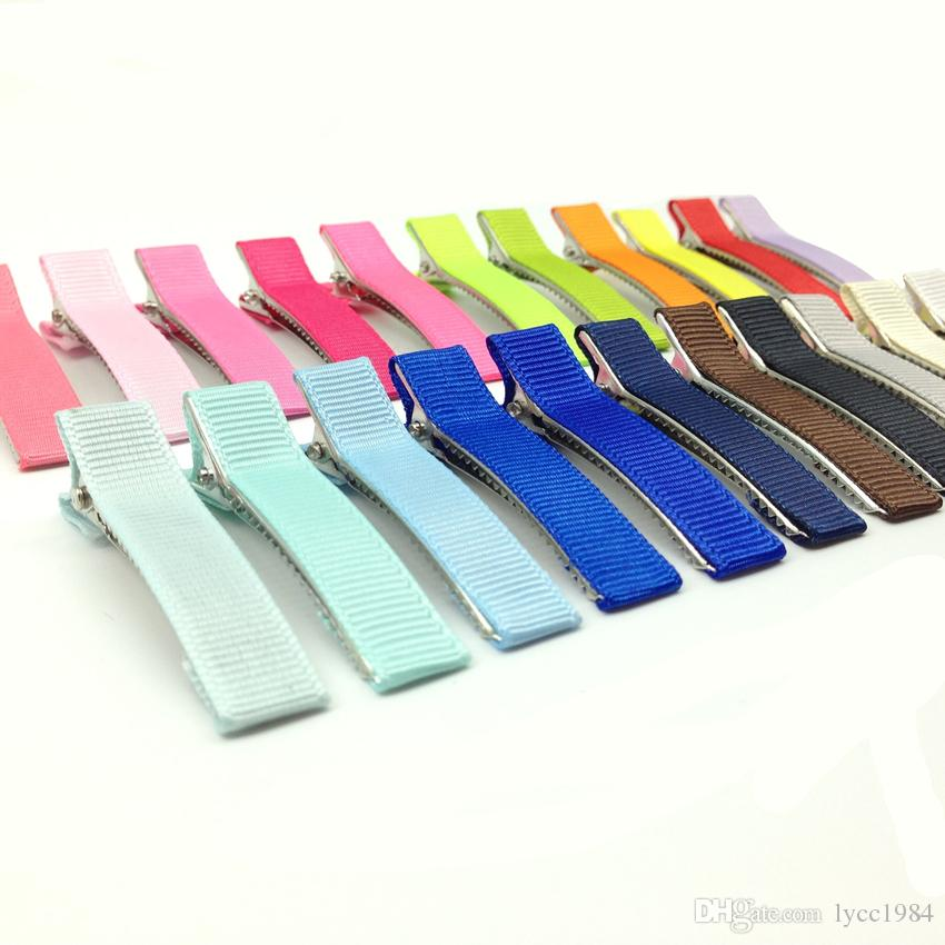 Mixed 5cm Good Quality Metal Alligator Hair Clip with Fabric Covered Baby Barrette Hairpin for Hair Bow Hair Accessories