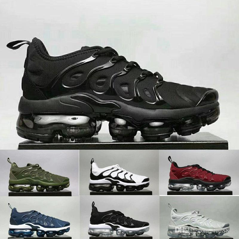 Vapormax TN Plus Running Shoes 2018 Men Outdoor Run Shoes Black White Sport  Walking Trainers Hiking Sports Athletic Sneakers EUR40-45 Basketball Shoes  ...