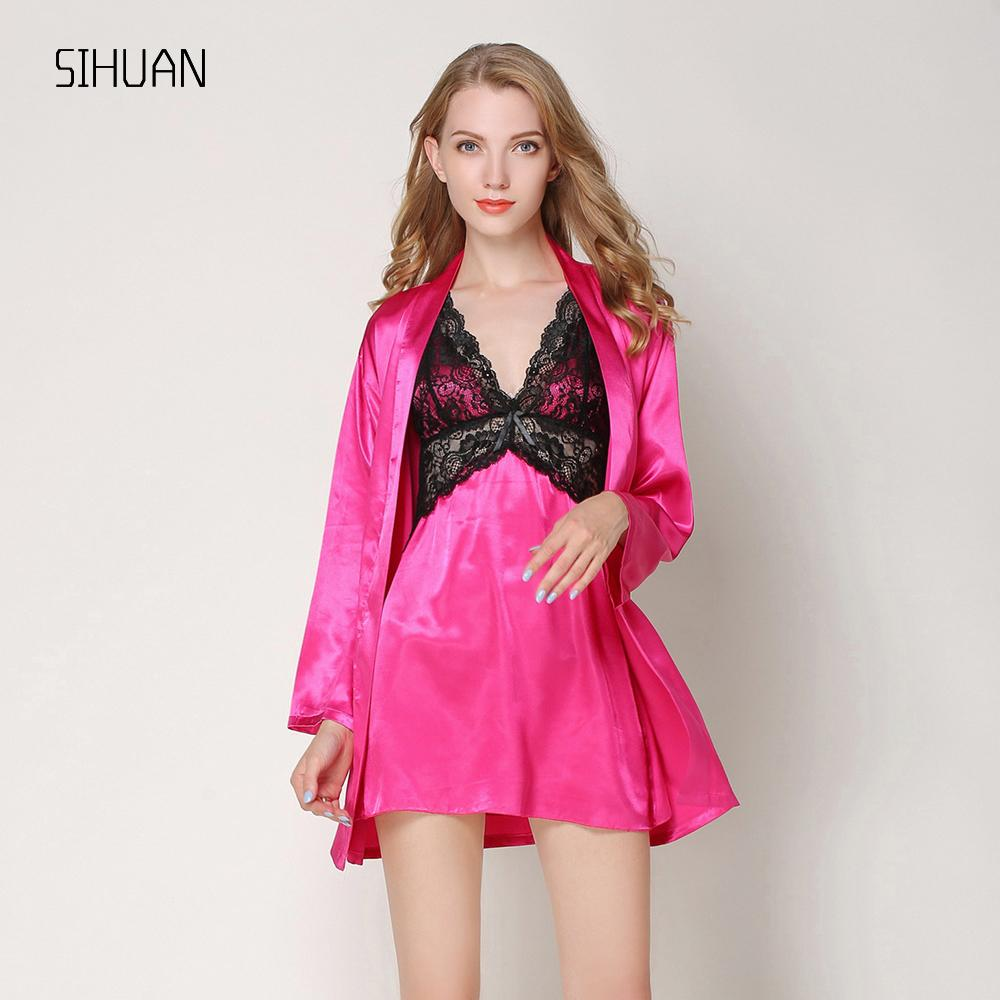 690547bd82 2019 SIHUAN Pajamas Robe Summer Sexy Women S Robe Set Mini Nightwear Indoor  Sleepwear Stain Silk Lace Short Sleeve Bathrobe Nightgown From Lucycloth