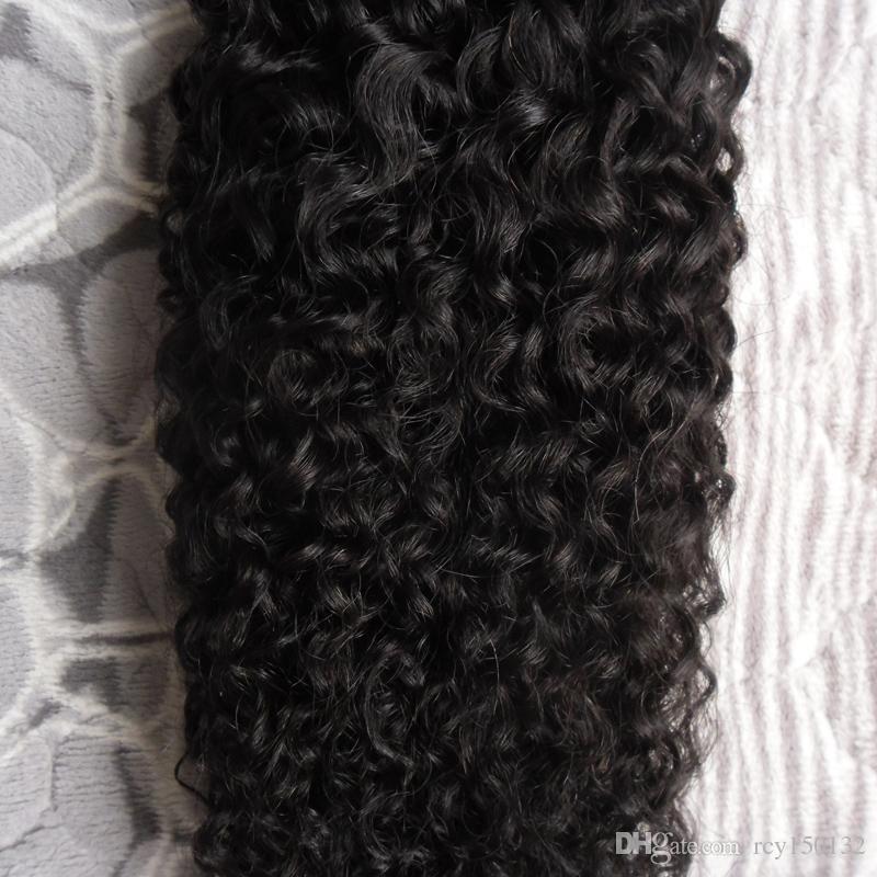 Natürliche Farbe I Tipp Haarverlängerungen 1,0g / s 100g Brasilianische Kinky Curly Keratin Stick Tipp Haarverlängerungen