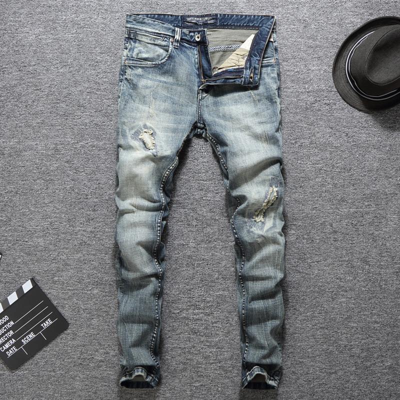 118624b2ad Jeans classici Moda Uomo Jeans Blu chiaro Jeans strappati strappati Homme  Slim Fit Cotton Denim Destroyed Pants Uomo