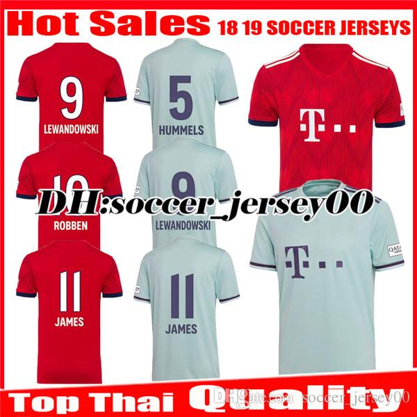 more photos 795bb fa297 2018 2019 Soccer jersey home away 18 19 james VIDAL BAYERN MUNICH  LEWANDOWSKI MULLER ROBBEN TOLISSO ALABA jerseys kit football shirts