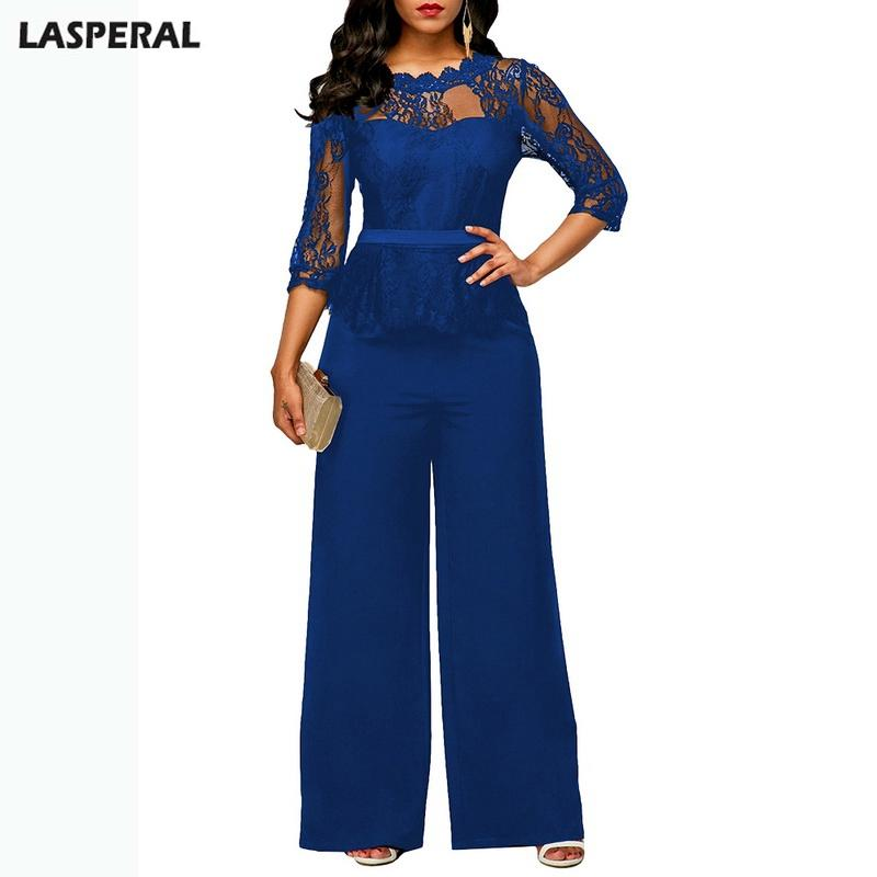 ee5508d3de9 2019 LASPERAL Fashion Casual Wide Leg Rompers Women Elegant Evening Party  Lace Patchwork Sexy Playsuits Bodysuits Formal Jumpsuits From Candd