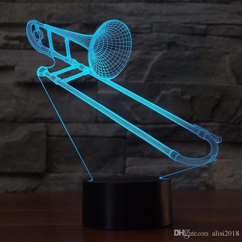 3D Trombone Forme NightLight Changement de couleur USB Lampe de table LED visuelle veille éclairage Luminaria Instruments de musique Luminaire