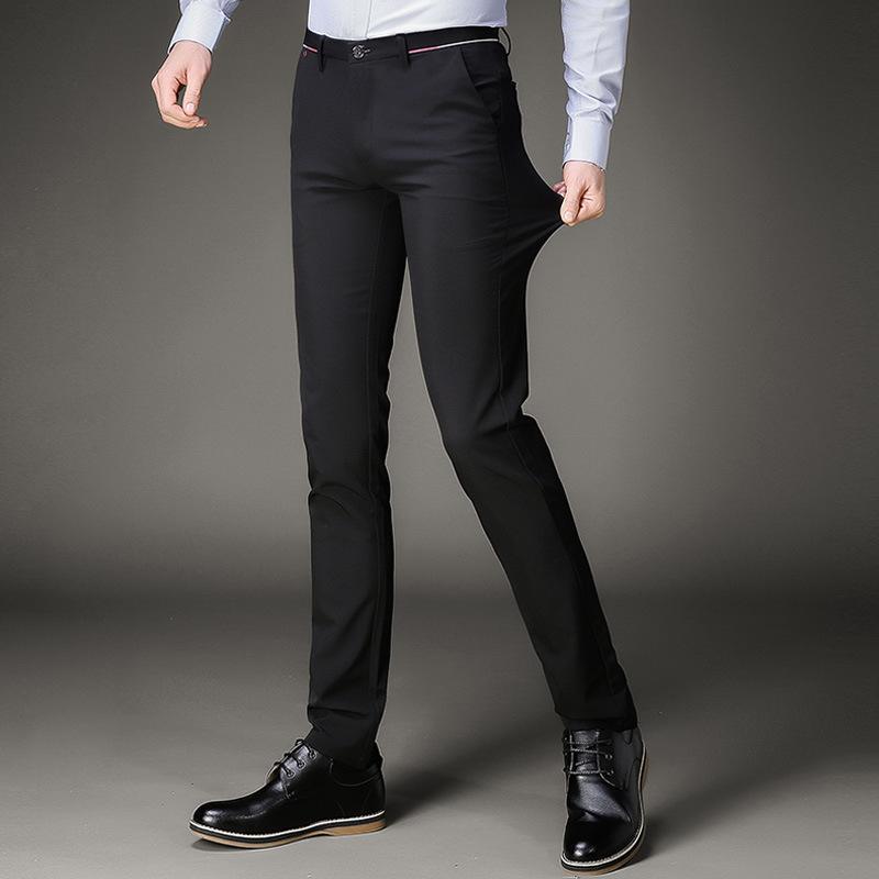 5b6804e1ad Compre Pantalones De Traje Para Hombre Negro Slim Fit Pantalones De Vestir  Pantalones De Oficina Hombres Tamaño Grande Negocio Classic Perfume De  Oficina De ...