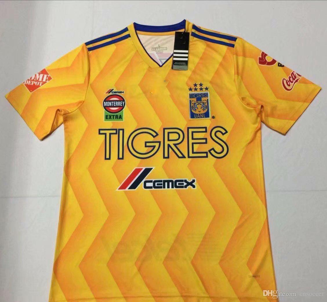 7fde32673 2019 2019 Tigres UANL Home Soccer Jersey 18 19 Tiger Home Yellow Soccer  Shirt Mexico Club Football Uniform Sales From Cnsoccer