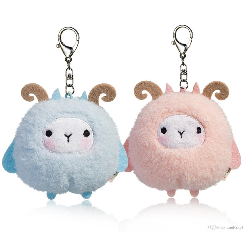 Plush Keychain Sheep Stuffed Animal Ornaments Pendant Decor Pink