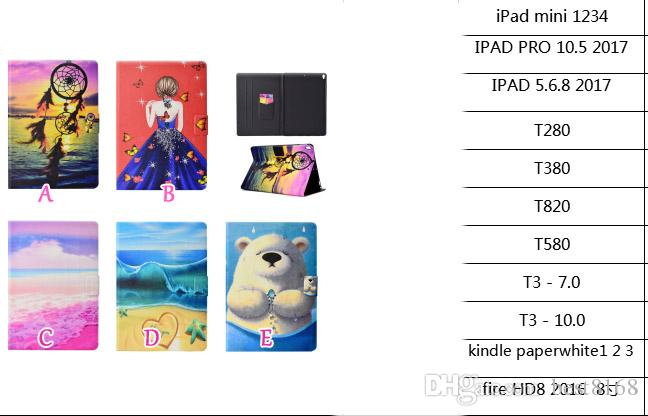 Dreamcatcher Girl Beach Bear Leather For iPad Mini 1 2 3,4,Ipad 5 6 Air 2 7 8 2017 9.7'',Pro 10.5inch 2017 Wallet Case Cover Coque