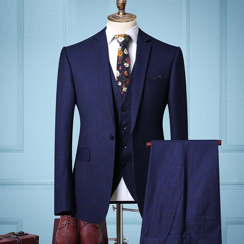 2018 Marke Neue Kerb Revers Einreiher Hochzeit Smoking Anzüge Für Männer Mode Business Casual 2 Stück Anzug jacke + Hosen