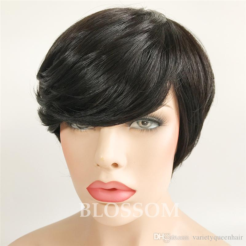 Pixie Cut Female African American human Hair Women's Wigs Short Bob Wig Fake Hair Straight Short Wigs for Black Women