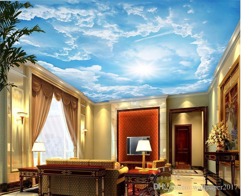 papel de parede 3d фэнтези солнечный свет голубое небо белые облака сценическое искусство зенит фреска обои 3d стена