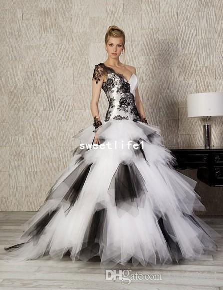 compre vestidos de novia góticos en blanco y negro volantes volantes