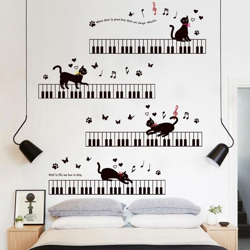 cat on the piano music wall stickers for kids rooms bedroom art