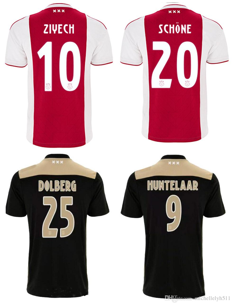2eb4065a475 2019 18 19 Ajax Home Away Soccer Jerseys Mens Top Thai Quality Football  Shirts 2018 2019 ZIYECH DOLBERG NOURI DE LIGT Schone Football Jerseys From  ...