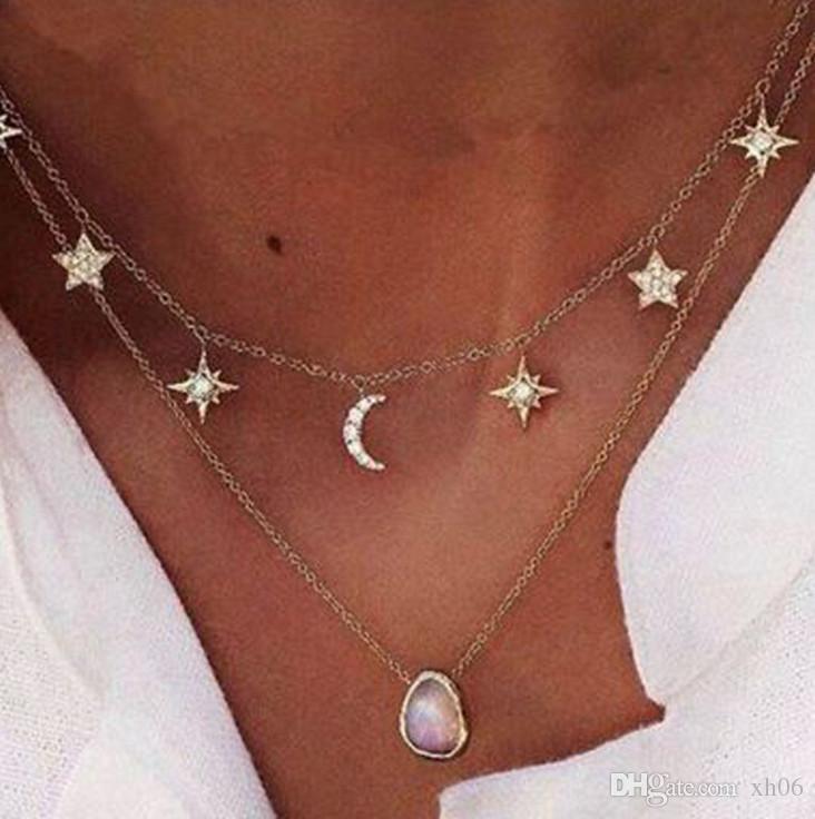 6c08ac23153e Compre Oro Joyería De Múltiples Capas Choker Collares Para Mujeres Sexy Moon  Star Colgante Collar De Gargantilla De La Vendimia A  1.61 Del Xh06