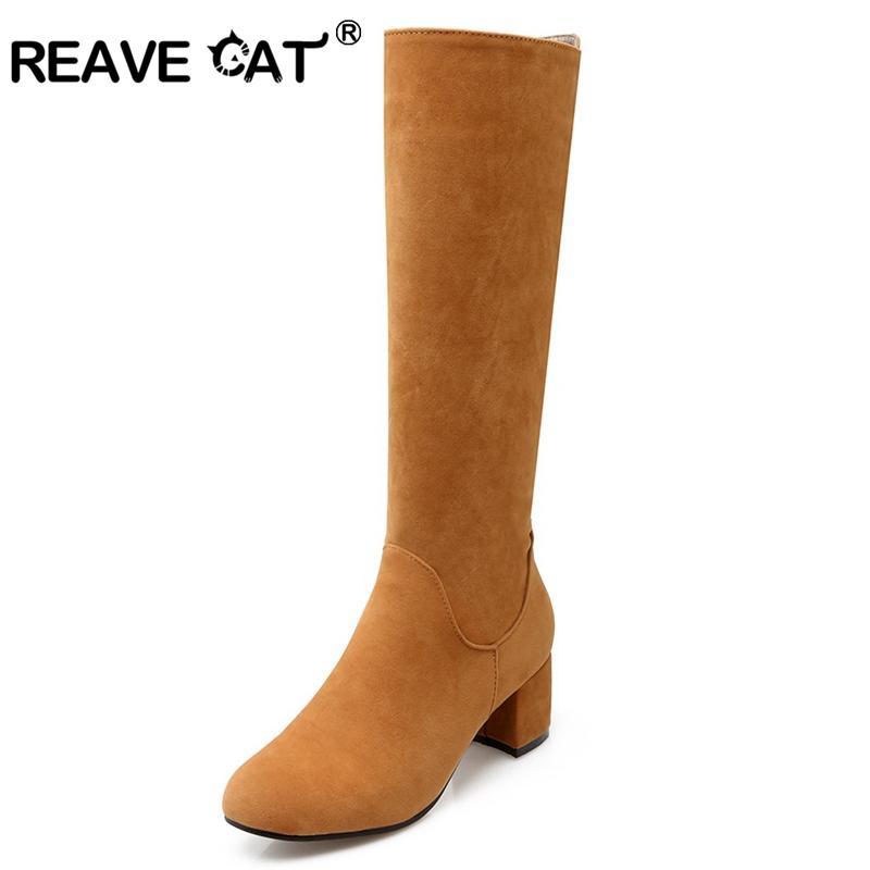 8948ccdd014f3a Acheter Reave Cat Chaussures Femmes Bottes Au Genou Printemps Automne  Chaussures Plus La Taille 34 43 Hiver Solide Bout Rond Fermeture Éclair Mujer  Botas ...
