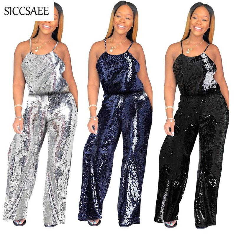 4efec515274f 2019 Glitter Jumpsuit Wide Leg Palazzo Pants Long Pinup Sparkly Rompers  Loose Sequins Silver Sexy One Piece Summer Club Wear 2018 From Worsted