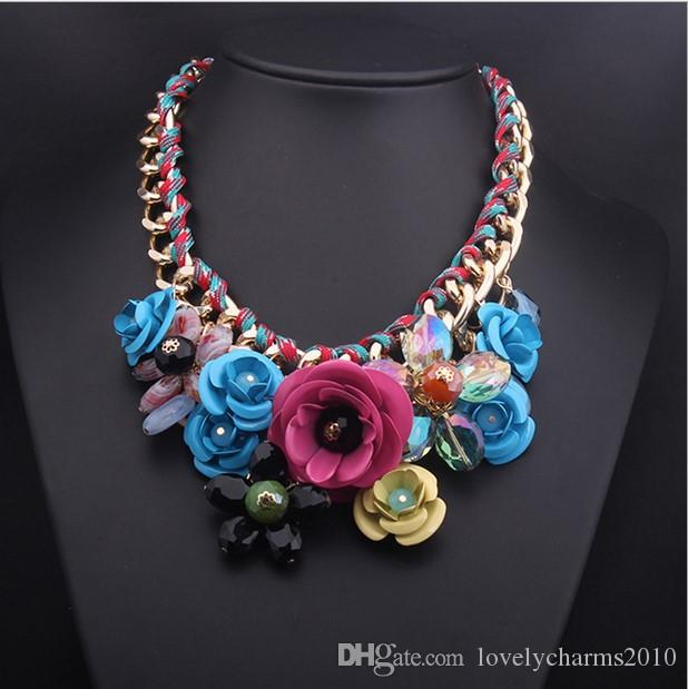 Hot Sale Bib Collar Statement Necklace Handmade Woven Chain Crystal Choker Chunky Multi- Colour Flower Bib Statement Necklace Women Jewelry